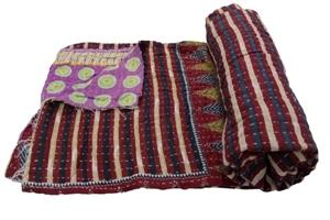 Indian Kantha Quilt tiwn Size Blanket Bedspread Throw Cotton
