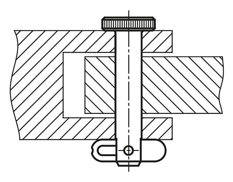 Axe de fixation avec sûreté à enclenchement - Goupille d'arrêt