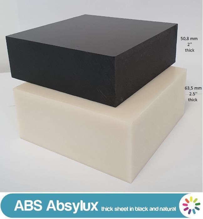 Absylux: lastre e barre di ABS nero e naturale - Barre estruse e lastre di ABS spessi stampiate a compressione