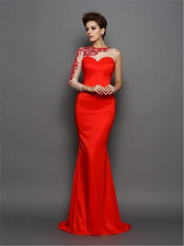 Single Handle Detail Long Evening Dress - Long Eveningdress