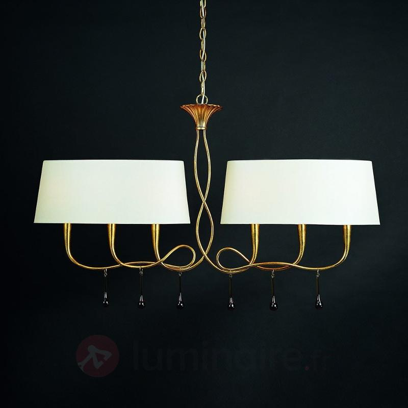 Suspension à 6 lampes Paola de couleur or et crème - Suspensions en tissu