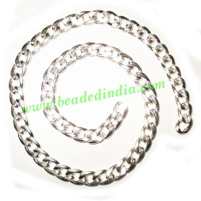 Silver Plated Metal Chain, size: 1.5x7mm, approx 12.8 meters - Silver Plated Metal Chain, size: 1.5x7mm, approx 12.8 meters in a Kg.
