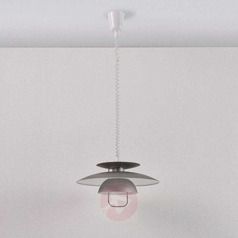 Elegant LED dining pendant light Nadija, grey - Pendant Lighting