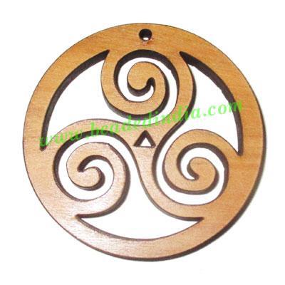 Handmade wooden triskele pendants, size : 44x4mm - Handmade wooden triskele pendants, size : 44x4mm