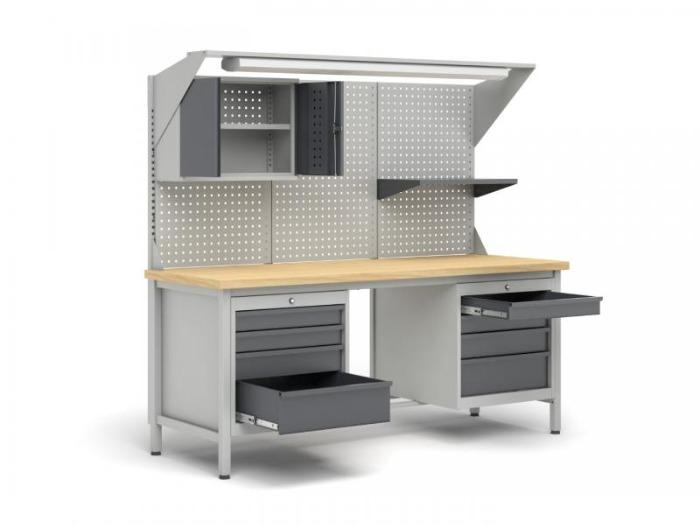 Workbenches - Metal workbenches with upward extensions