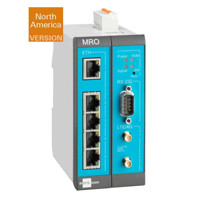 MRO-L210 4G/LTE-Router (US), Switch, RS232, IOs, LXC - MRO-L210 Router, 1-5 IP Network LTE/LAN/WAN, VLAN, VPN, Firewall, NAT, DHCP, DNS