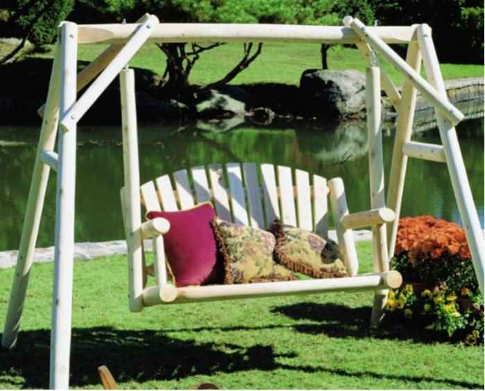 Balancelle en bois avec portique - réf B26KD - Balancelle rondins de cèdre blanc