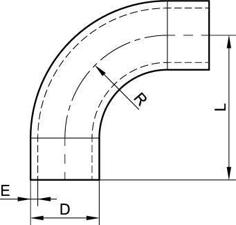 62212 COUDE À 90° AVEC PARTIES DROITES POLI SATINÉ - Accessoires de tuyauterie DIN