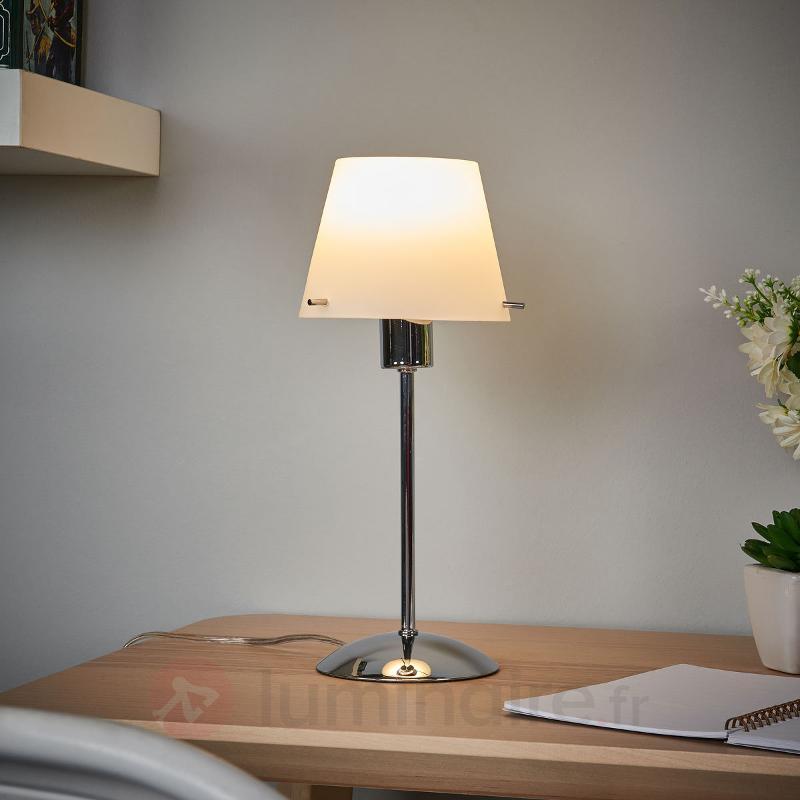 Lampe à poser LED Valentine, abat-jour en verre - Lampes de chevet