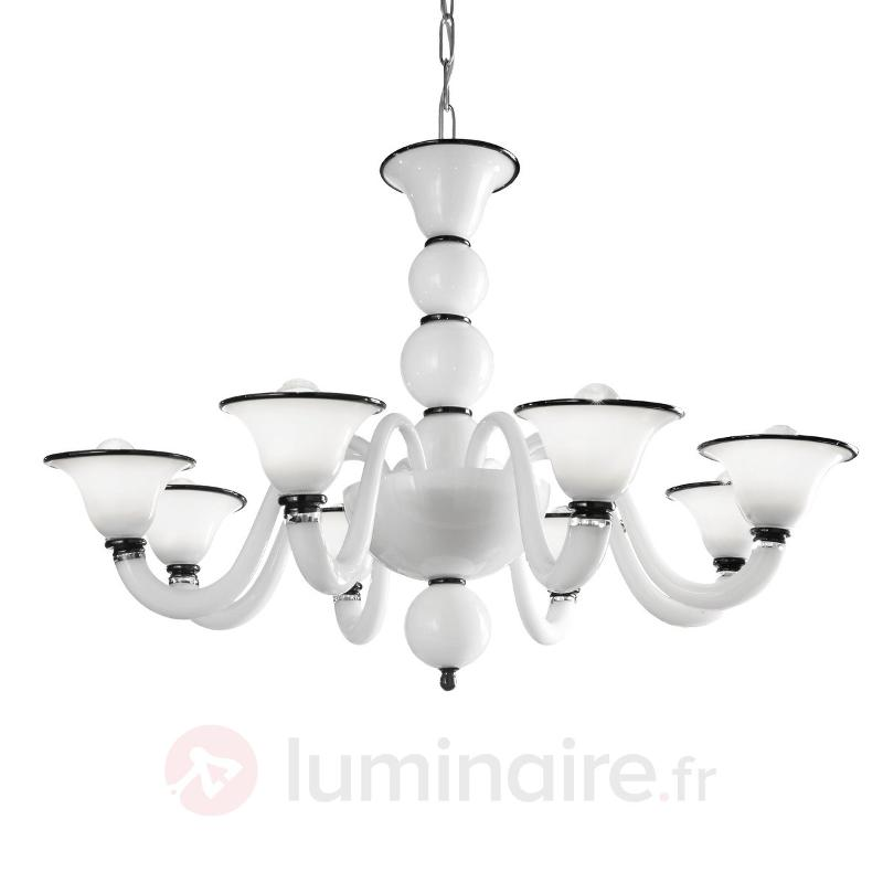 Lustre blanc 6 lampes Canaletto - Lustres designs, de style