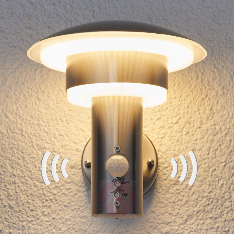 PIR outdoor wall light Lillie with LEDs - stainless-steel-outdoor-wall-lights