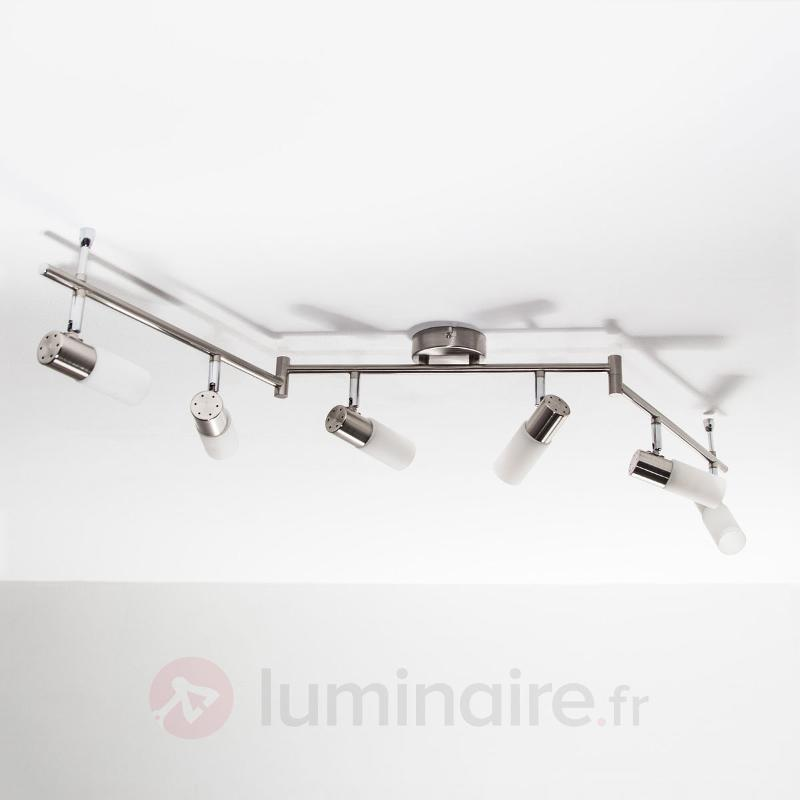 Tamia - Plafonnier LED à 6 lampes, nickel mat - Plafonniers LED