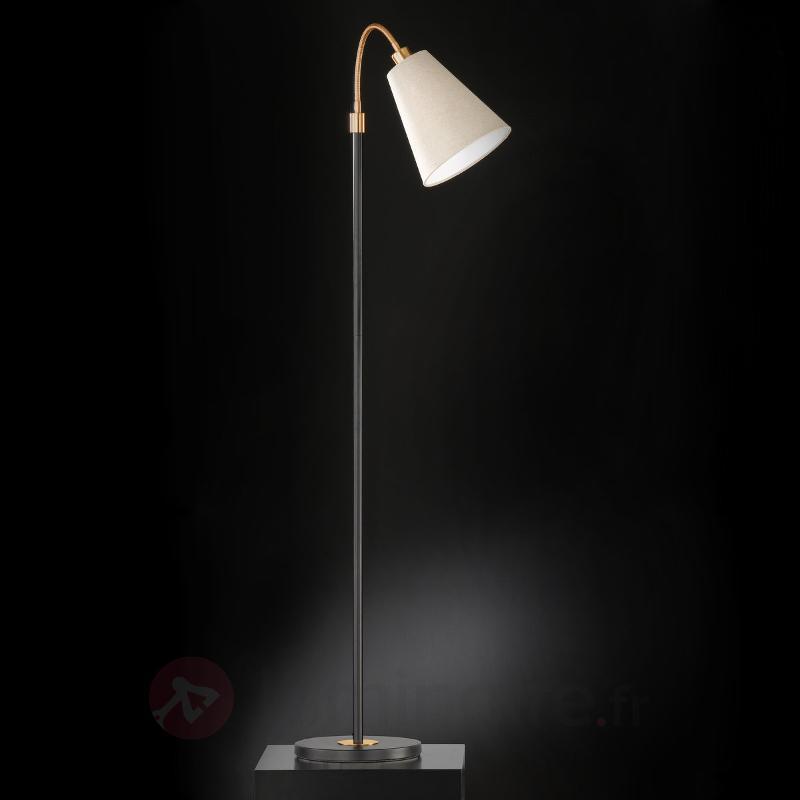 Lampadaire réglable Hopper, noir-bronze, une lampe - Lampadaires en tissu