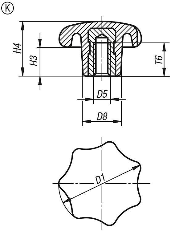 Bouton étoile similaire à DIN 6336 - Poignées et boutons