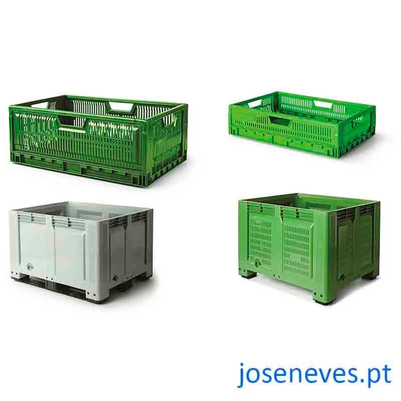 Contentores, caixas e tabuleiros plásticos -