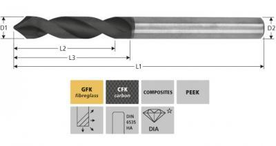 Milling Tools: for GFK/CFK - sc high performance drill with diamond-coating