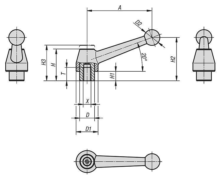 Manette indexable en acier avec taraudage - Leviers de blocage, manettes indexables