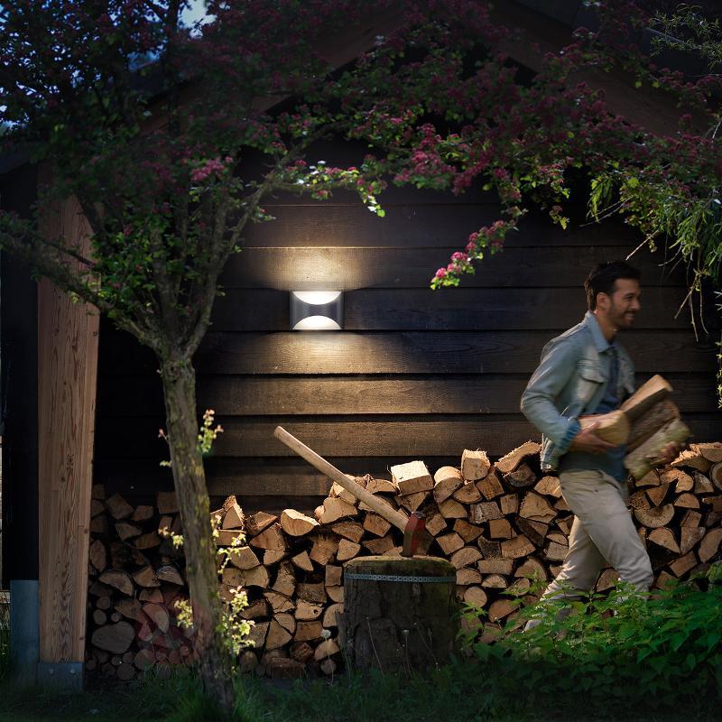 Applique LED esthétique Herb en inox - Appliques d'extérieur inox