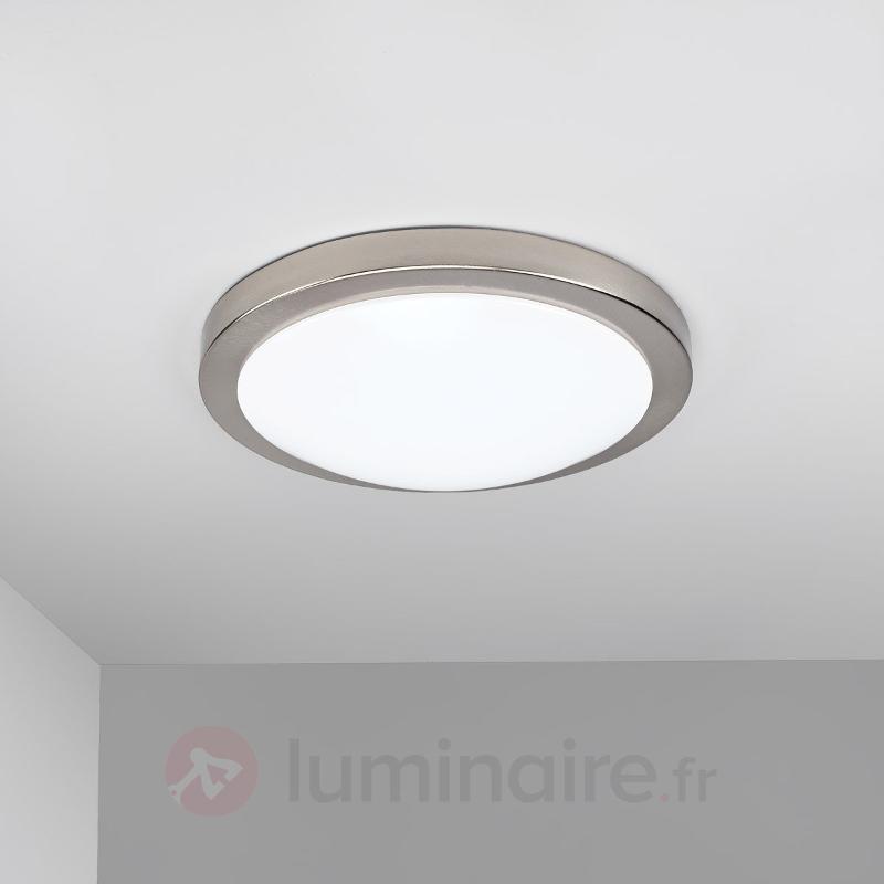 Plafonnier salle de b. LED Aras, détecteur, nickel - Plafonniers avec détecteur