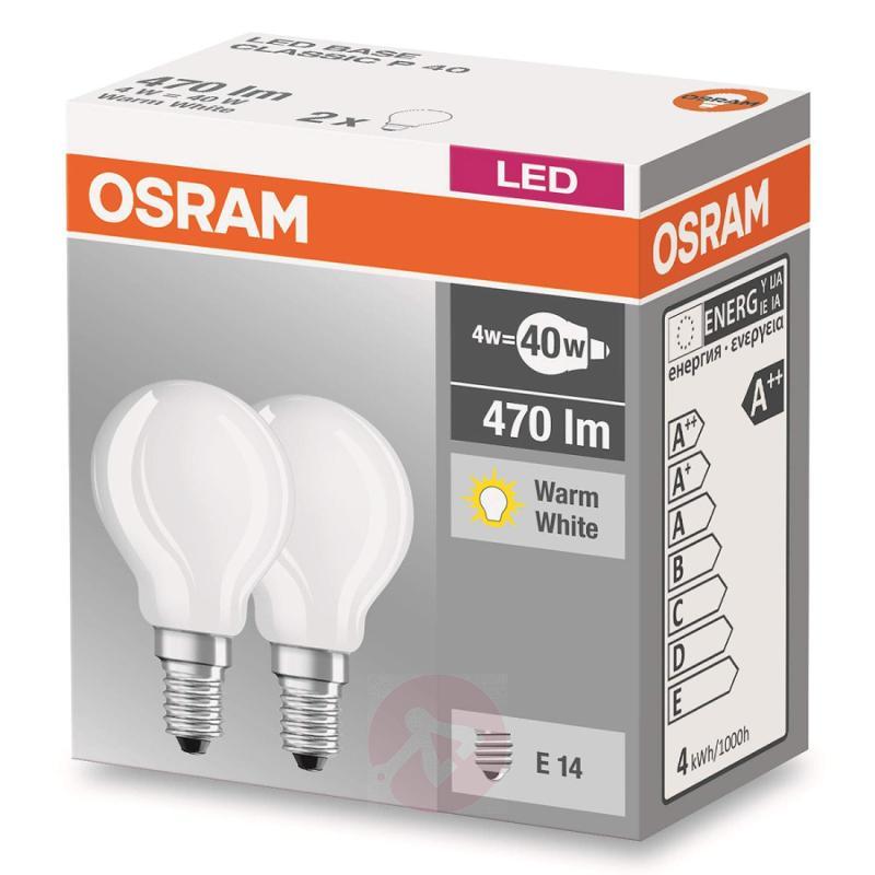 E14 4 W 827 LED golf ball bulb, matt, set of two - light-bulbs