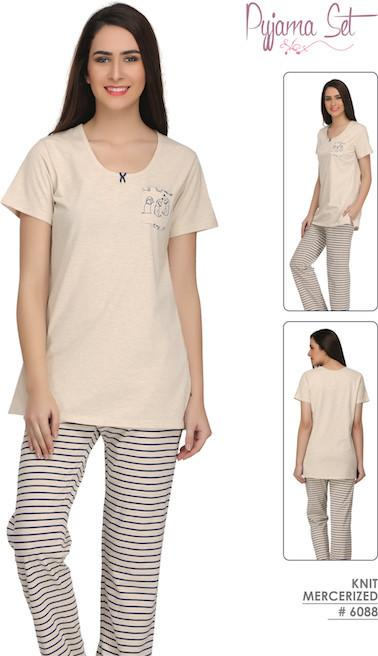 Cream Solid and Stripes Pyjamas #6088
