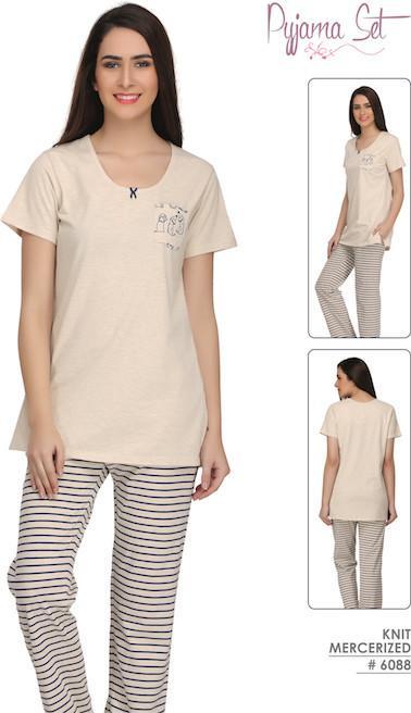 Cream Solid and Stripes Pyjamas #6088