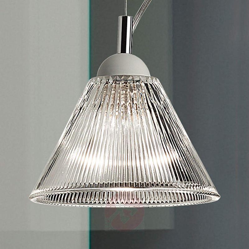 Rippled glass hanging light Corolla - indoor-lighting