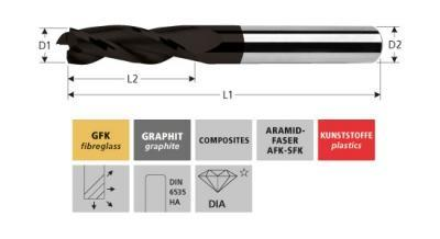 Milling Tools: for GFK/CFK - sc triple flute end mill - upcut sprial
