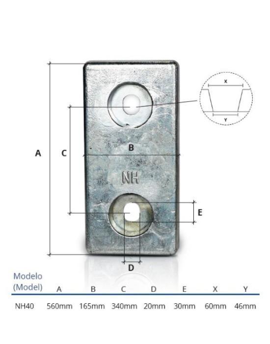 Ânodo de zinco para protecção catódica - Ânodos de aparafusar NH40