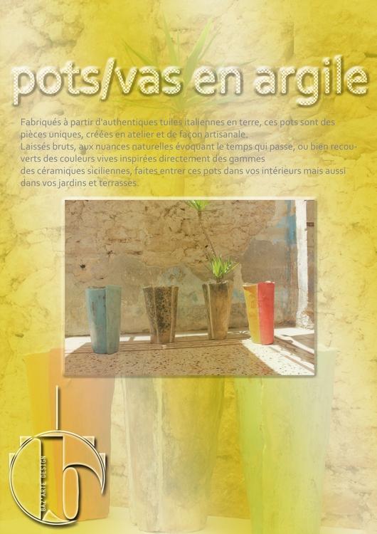 Pots/vases en tuiles Argile, faits main.
