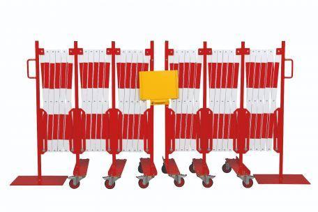 Kit 2 Pcs. Barrière Extensible Rouge-blanc 8,0 M - Barrières De Sécurité