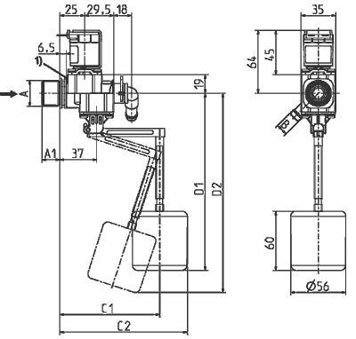 Solenoid valve / Float valve NC, DN 10 two chambers in line - 21.010.226