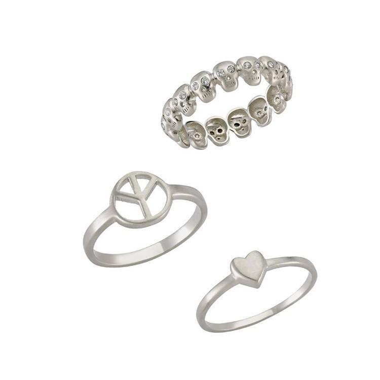 Minimalist Design Sterling Silver Rings - Micron white gold plating