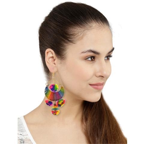 JAE-2126 - Zephyrr Fashion Lightweight Dangler Thread Hook Pompom Earrings