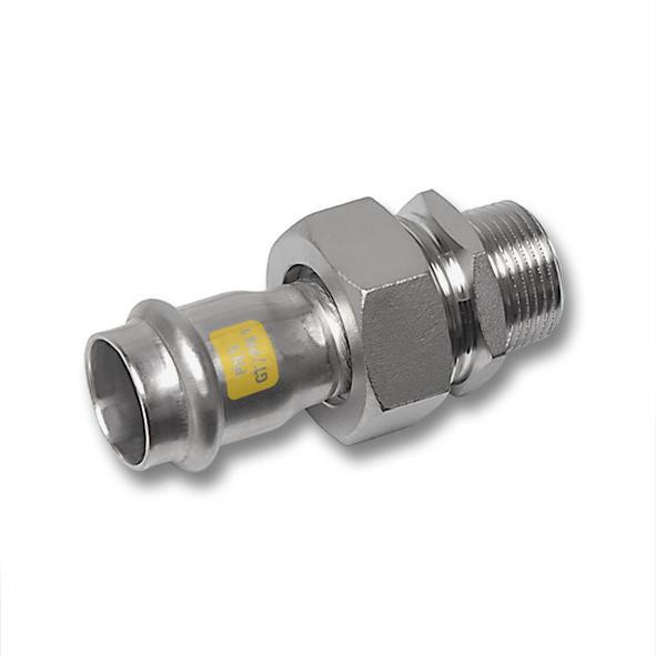 Edelstahl-Rohrleitungssystem NiroSan® Gas, Verschraubung - NiroSan® Gas Verschraubung, flachdichtend mit Centellen-Dichtung, Pressanschluss
