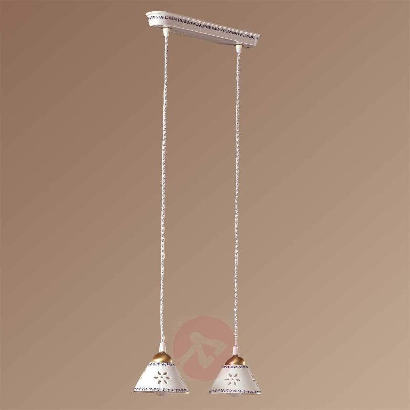 2-bulb NONNA hanging light, made of white ceramic - Pendant Lighting