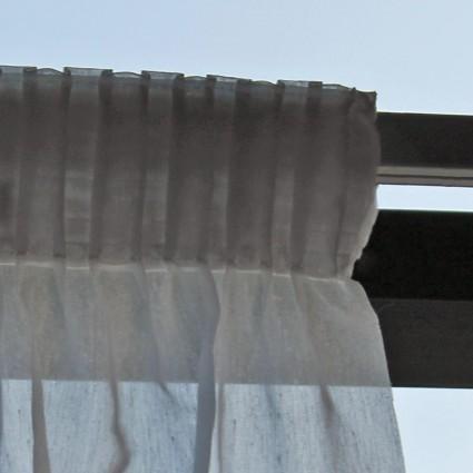 Voilages et pare-soleil - Voilage mousseline blanc nonfeu M1 préplissé 340 x 230cm