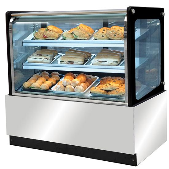 Cafeteria, Ice Cream and Bar Equipment - hot display with straight glass, +40 °C/+75 °C, w=1200 mm