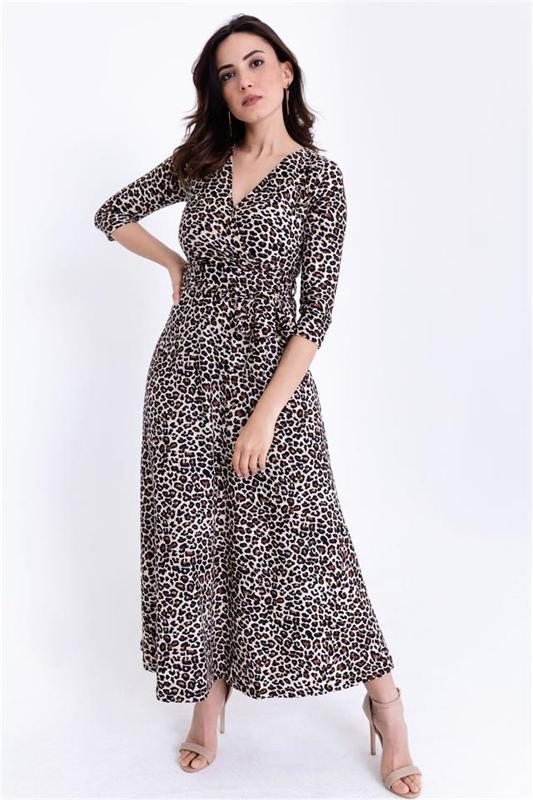 Women Black-breasted Collar Leopard Patterned Dress - Long Dress