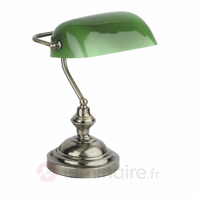 Lampe à poser attrayante BANKER doré ancien - Lampes de bureau