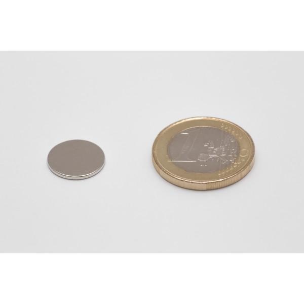 Neodymium disc magnet 13x1mm, N45, Ni-Cu-Ni, Nickel coated - Disc