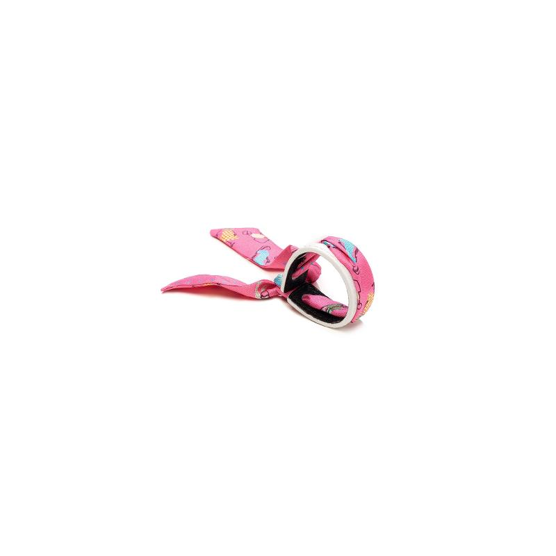 Bracelet Cuir Et Lien En Twill De Soie Imprimé Foule - Rose Blanc - BRACELETS