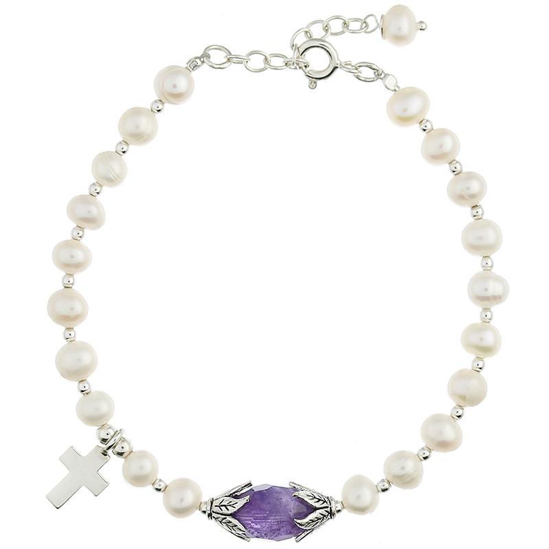 Freshwater Pearl Bracelet Amethyst Bead & Silver Cross