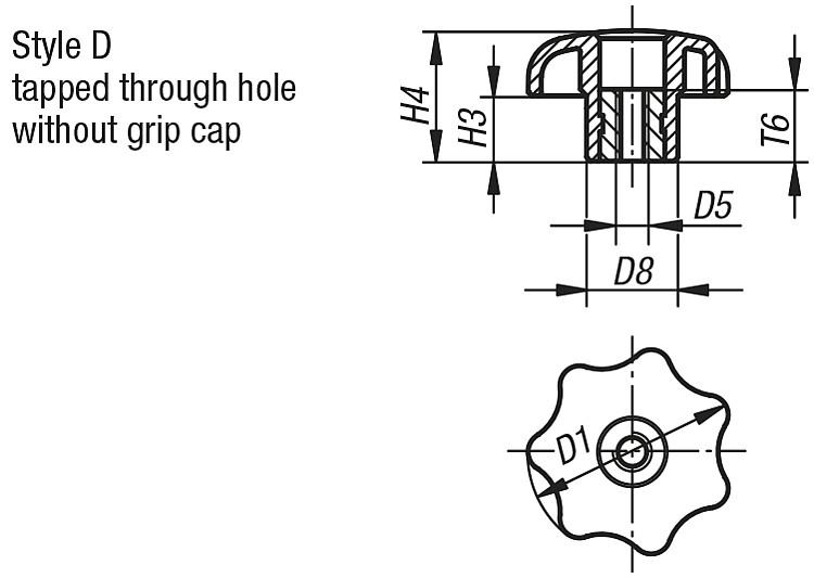 Star Grips similar to DIN 6336, Style D, metric - K0155_D Metric