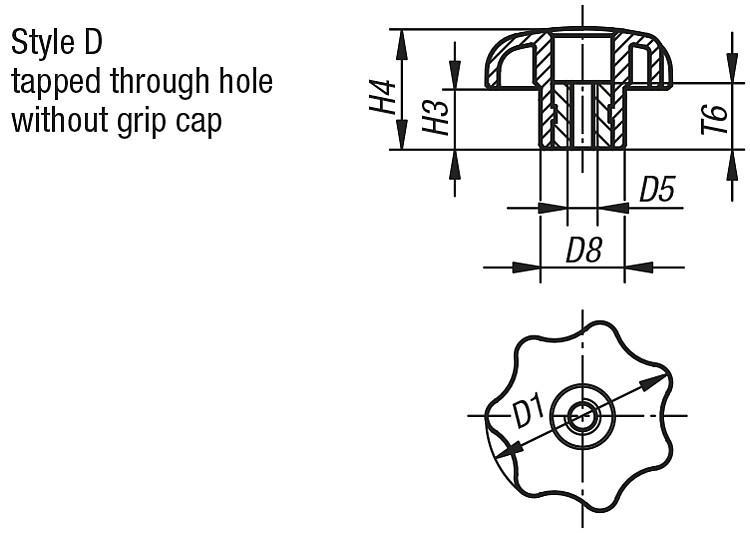 Star Grips similar to DIN 6336, Style D, metric - K0155_D Metric