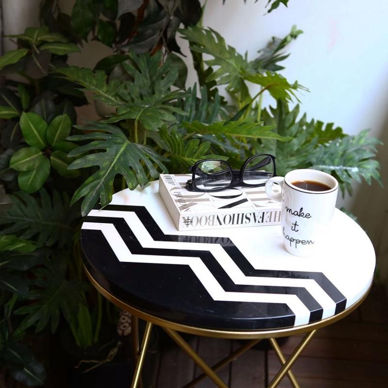 Black White Zig Zag Pattern Marble Coffee Table - null