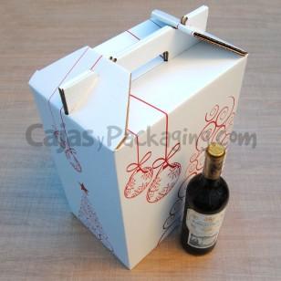 Caja de cartón Lote de Navidad para 6 botellas.