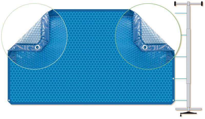 Couverture à bulles finition quattro noir pour piscine rectangulaire - quattronoir7x3.5