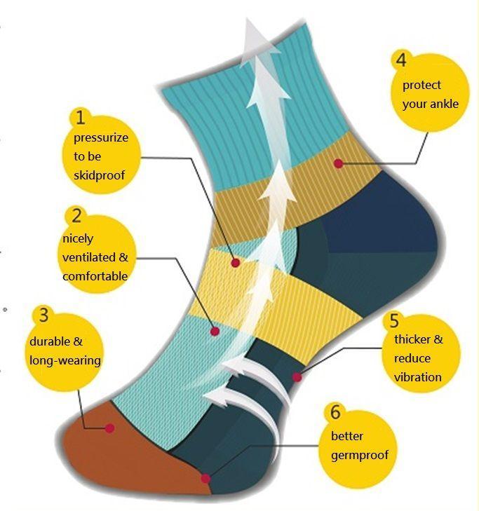 Kupferfaser Bambus Holzkohle Sport Socken -