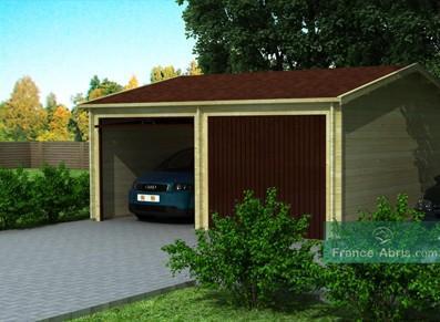 Garage double en bois - 2 véhicules
